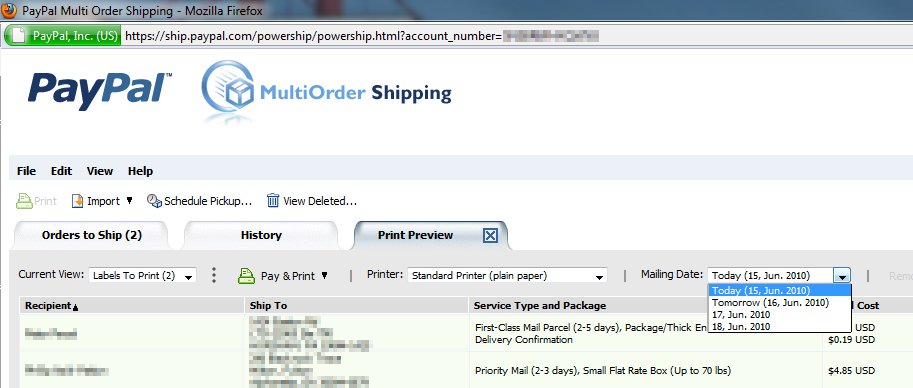 Paypal Multi Order Shipping Mailing Date Selection